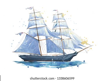 Sailing ship, hand painted watercolor illustration