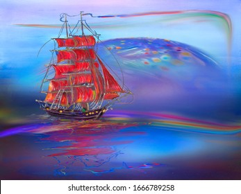 Sailing ship with red sails sailing on a surreal blue landscape with a rainbow. Artwork.
