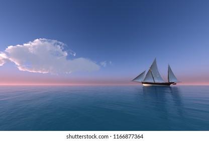 Sailing ship at sunset - 3D rendering