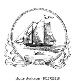 Sailing ship. Vignette with an old sailboat,  drawn by hand. Suitable for logo, advertising, design in pirate and adventure style