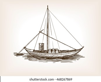Sailing ship with wine barrels sketch style raster illustration. Old hand drawn engraving imitation.