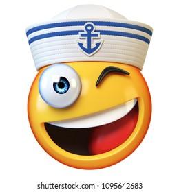 Sailor hat emoji isolated on white background, marine emoticon wearing navy cap  3d rendering