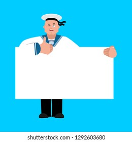 Sailor holding banner blank. Russian soldier seafarer and white blank. Seaman Military in Russia thumb up and winks joyful emotion. Illustration for 23 February. Defender of Fatherland Day. Army holid
