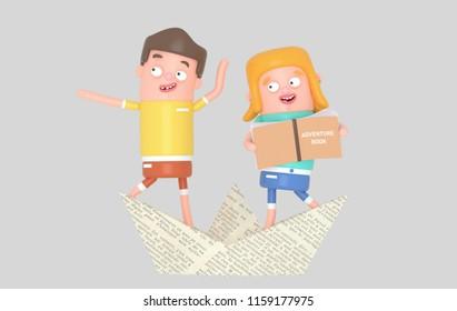 Sailor kids inside paper boat. 3d illustration