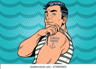 Sailor with Lorem ipsum tattoo on hand. Pop art retro comic book  illustration
