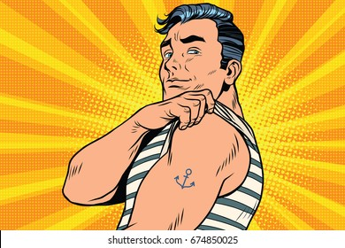 Sailor with tattoo on hand. Pop art retro comic book  illustration