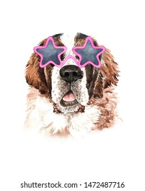Saint Bernard dog. Portrait of a dog. Watercolor hand drawn illustration.Watercolor  Saint Bernard with star shape sunglasses layer path, clipping path isolated on white background.