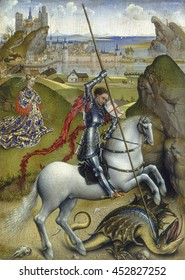Saint George and the Dragon, by Rogier van der Weyden, 1432-35, Netherlandish painting, oil on canvas. Legendary Saint George in black Gothic armor pins the dragon to the ground with his lance, rescu