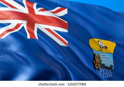 Saint Helena flag. 3D Waving flag design. The national symbol of Saint Helena, 3D rendering. National colors of Saint Helena 3D Waving sign background design. 3D ribbon, wallpaper, background