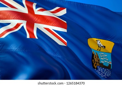 Saint Helena flag. 3D Waving flag design. The national symbol of Saint Helena, 3D rendering. National colors and National flag of Saint Helena for a background. Saint Helena sign on smooth silk