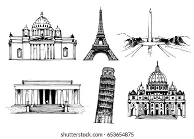 Saint Isaac's Cathedral, Eiffel Tower, Washington Monument, Lincoln Memorial, Tower of Pisa, St. Peter's Basilica hand drawn illustration isolated on white background: Russia, France, USA, Italy