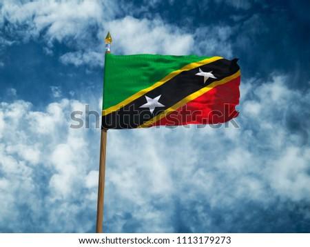3bff940d2c2 Saint Kitts and Nevis flag Silk waving flag of Saint Kitts and Nevis made  transparent fabric