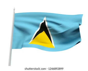 Saint Lucia flag floating in the wind with a White sky background. 3D illustration.