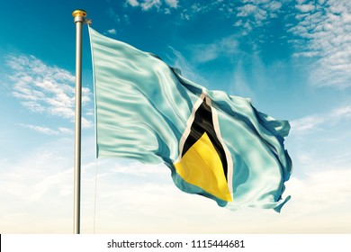 Saint Lucia flag on the blue sky with cloud. 3D illustration