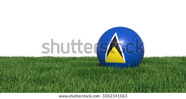 Saint Lucia flag soccer ball lying in grass, isolated on white background. 3D Rendering, Illustration.