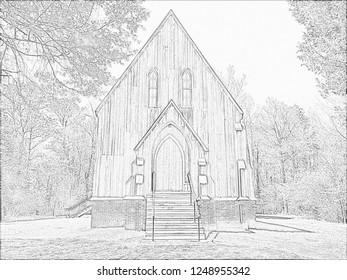 Saint Luke's Church Cahawba Alabama Pencil Sketch