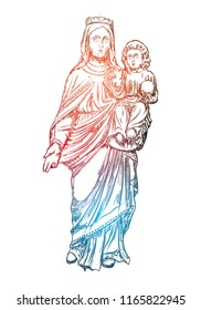 Saint Mary holding baby Jesus Christ, son of God in her hands. Christmas nativity scene for holiday. Color adult flesh tattoo concept.