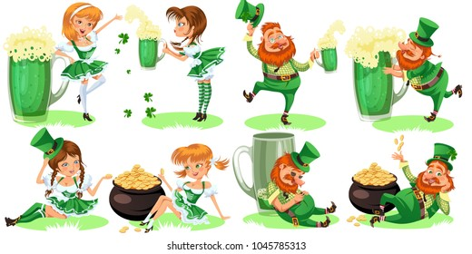 Saint patrick day characters, leprechaun and girl with mug of green beer, glass full alcohol ale, drunk man in cylinder symbol of luck shamrock, cartoon elf sits near pot full gold money isolated on