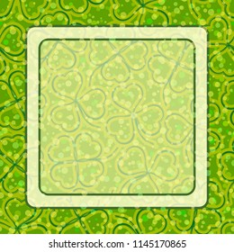 Saint Patrick Holiday Background, Green and Yellow Contour Clover Plants with Four Leaves, Luck Symbol, and White Frame.