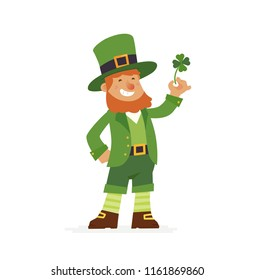 Saint Patrick - modern cartoon people characters illustration isolated on white background. An image of a cheerful smiling bearded leprechaun in traditional green suit and hat holding a clover