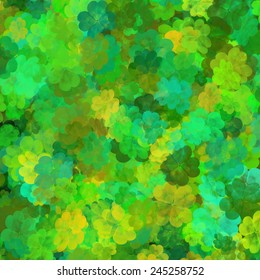 Saint Patrick's Day background, scattered shamrocks pattern