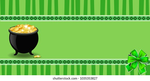 Saint Patricks Day banner with clover bow, cauldron full of leprechauns gold  on green striped background with elegant shamrock leaves border. festive template for card, poster with copy space