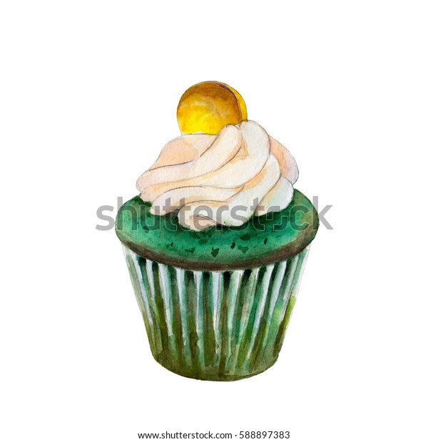 Saint Patricks day cupcake with coin, watercolor illustration in hand-drawn style isolated on white background.