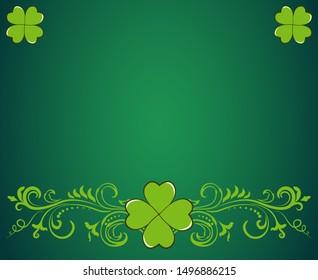 Saint Patrick's Day dark green border with clover shamrock leaves. Irish festival celebration greeting card design background.