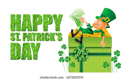 Saint Patrick's Day Greeting Card Background. Leprechaun, Shamrock, Irish Luck, Gift, Wine, Fortune, Emerald Isle and Clover Illustration. Calligraphy. Graphic. Design Element. Icon. Holiday.Abstract.