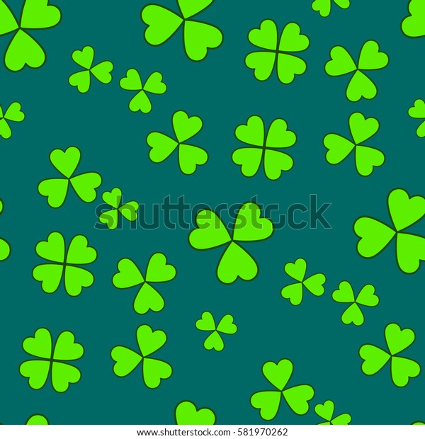 Saint Patrick's day seamless background, green holiday pattern with clovers, floral theme, eco concept