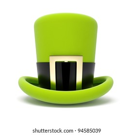 saint patrick's green top hat 3d illustration isolated on white background