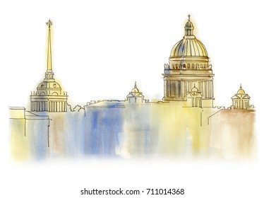 Saint Petersburg watercolor drawing city landscape sight skyline architecture Admiralteistvo Isaakyevsky sobor Dome Golden