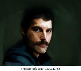 Saint Petersburg/Russia- 11/15/2018 Hand drawn portrait Freddy Mercury, a famous rock musician