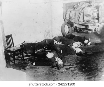 Saint Valentine's Day Massacre. Seven gangsters of Bugs Moran's gang were killed by Al Capone's in a garage in Chicago on Feb 14, 1929.