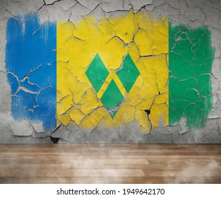 Saint Vincent and The Grenadines Flag Cracked Paint on empty wall room with wood floor and  smoke Single Flag - 3D illustration - 3D render