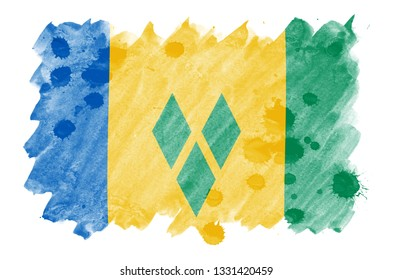 Saint Vincent and the Grenadines flag  is depicted in liquid watercolor style isolated on white background