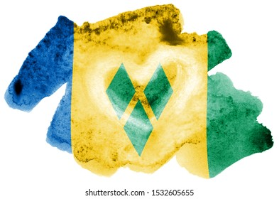 Saint Vincent and the Grenadines flag  is depicted in liquid watercolor style isolated on white background. Careless paint shading with image of national flag. Independence Day banner