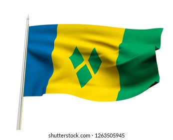 Saint Vincent and the Grenadines flag floating in the wind with a White sky background. 3D illustration.