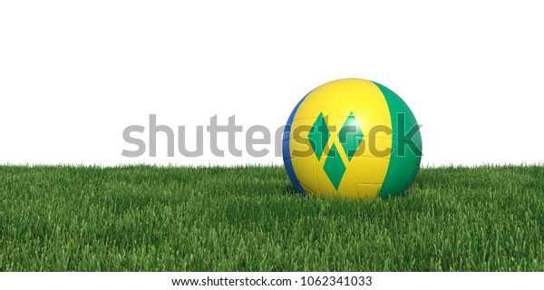 Saint Vincent and the Grenadines flag soccer ball lying in grass, isolated on white background. 3D Rendering, Illustration.