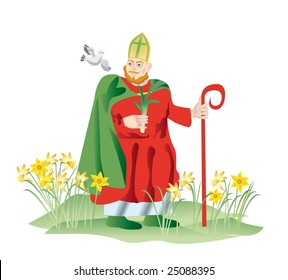 Sainted Devid in 1120 was canonized the Roman church as a high priest, christianizing celtic tribes. A leek became the emblem of glory of Wales, and the welshmen of 1th March mark St. David Day.