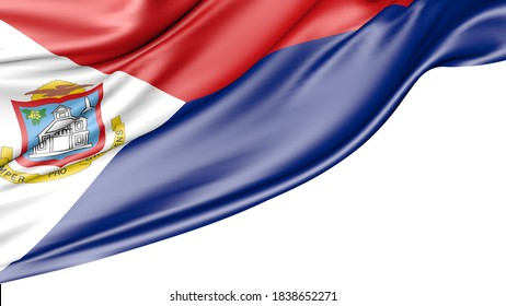 Saint-Martin flag isolated on white background, 3D illustration