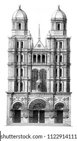 Saint-michel Church in Dijon, vintage engraved illustration. Magasin Pittoresque 1844.