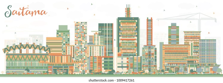 Saitama Japan City Skyline with Color Buildings. Business Travel and Tourism Concept with Modern Architecture. Saitama Cityscape with Landmarks.