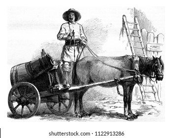 Sakadjiou or Walach water carrier, vintage engraved illustration. Magasin Pittoresque 1855.