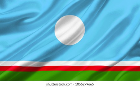 Sakha Republic flag waving with the wind, 3D illustration.