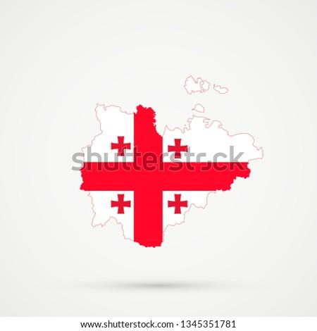 Map Of Republic Of Georgia.Sakha Republic Map Georgia Flag Colors Stock Illustration Royalty