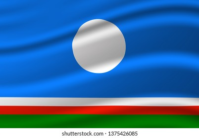 Sakha waving flag illustration. Regions of Russia. Perfect for background and texture usage.