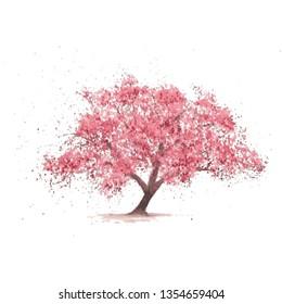 Sakura blooming tree. Cherry flowers on white background . Hand drawn
