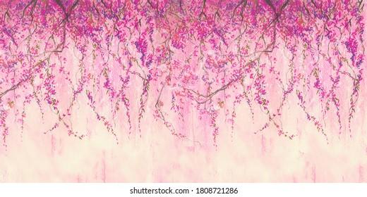Sakura branches painted with pastel. Stunningly beautiful, modern murals, wallpaper, wall murals, photowallpaper, cover, postcard on an interesting, unusual background. Wall of pink sakura flowers.