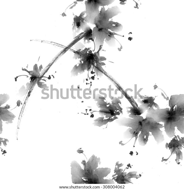 Sakura flower. Watercolor and ink illustration in china style sumi-e. Oriental traditional painting. Seamless pattern.